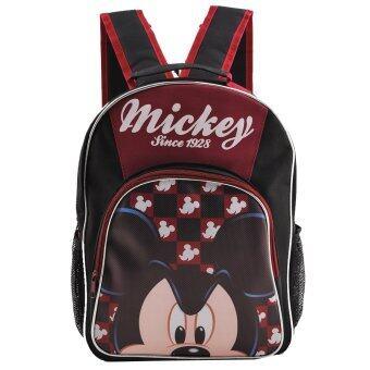 Mickey Mouse กระเป๋าเป้ กระเป๋านักเรียนสะพายหลัง (สีดำคาดแดง)