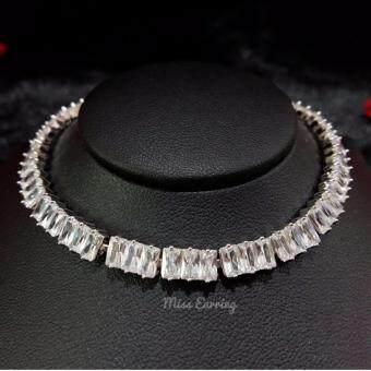 จัดโปรโมชั่น Miss earring luxury Jewelry สร้อยข้อมือฝังเพชรสี่เหลี่ยม สำหรับผู้หญิง รุ่น BL023