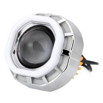 Motorcycle Headlight LED Hi/Lo Lens Projector Lamp Set AngelEye+Devil Eye 12W - intl