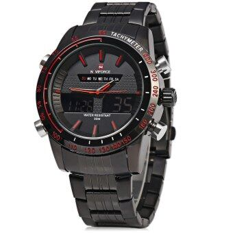 NAVIFORCE NF9024 Men Quartz Watch Dual Movt Analog Digital LED Sports Wristwatch (Red With Black) - intl