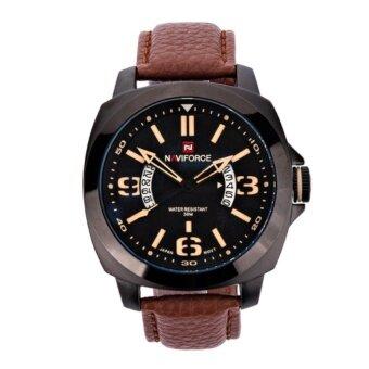ราคา NAVIFORCE นาฬิกาข้อมือผู้ชาย สายหนัง รุ่น NF9062M- สีน้ำตาล