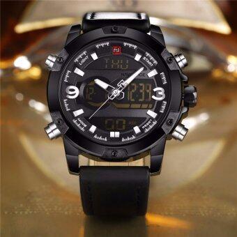 NAVIFORCE นาฬิกาข้อมือผู้ชาย NF9097-BBLA สองระบบ สายหนังสีดำ