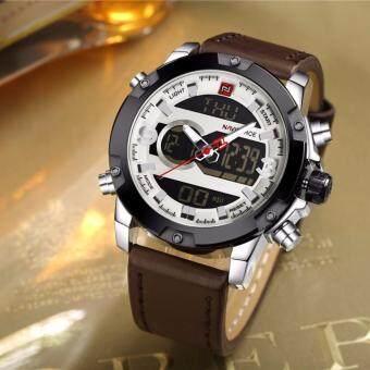 NAVIFORCE นาฬิกาข้อมือผู้ชาย สายหนังสีน้ำตาลเข้ม  รุ่น NF9097-DABRO