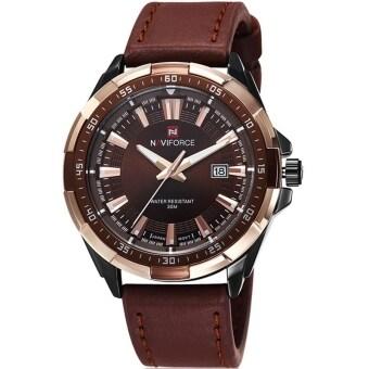 NAVIFORCE WATCH นาฬิกาข้อมือผู้ชาย เครื่องญี่ปุ่น กันน้ำ100% สายหนังสีน้ำตาล รุ่น NF9056BRG
