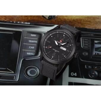 NAVIFORCE WATCH นาฬิกาข้อมือผู้ชาย สายผ้าหนาอย่างดี กันน้ำ30เมตรมีบอกวันที่และสัปดาห์ สไตล์คลาสสิค รุ่น NF9019 (ดำ)