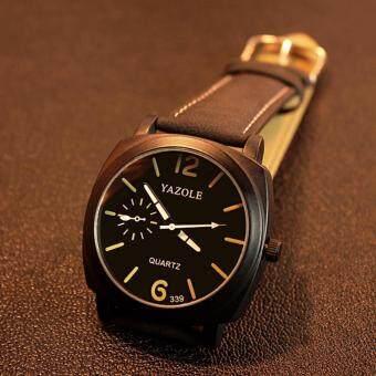 ประเทศไทย Neptune Yazole นาฬิกาแฟชั่น นาฬิกาข้อมือ ผู้ชาย สายหนัง สีดำ Quartz Casual Analog Leather Men Watch (Black)