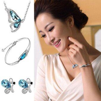 New Butterfly Jewelry Sets Necklace + Earring+Bracelet Crystal SetFashion - intl