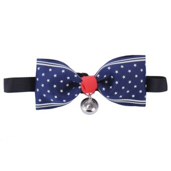 New dog Puppy Cat CAT Polyester Bow Tie Necktie Bowknot PET petadjustable collar With Bells - intl