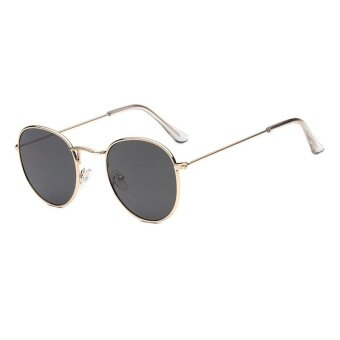 New Sunglasses Trend Round Sunglasses Bright Reflective Sun Glasses-Gold Frame Gray Sheet - intl
