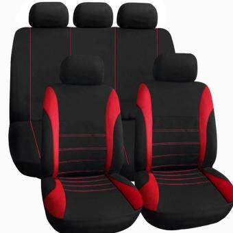 OH 9 pcs Full Seat Cover Set Car Seat Cover Low Front Back SetBlack Red Line