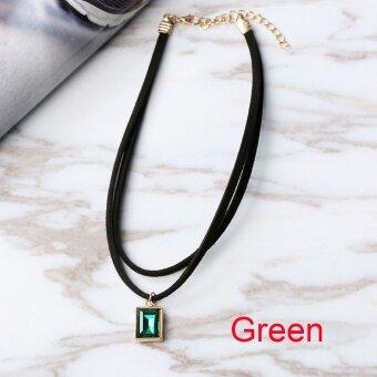 Okdeals 1pc Gothic Retro Vintage Black Velvet Crystal Charm PendantDouble Layer Choker Necklace Jewelry Nice Gift