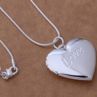 Okdeals Heart LOCKET Photo Charm Pendant Necklace silver