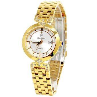 2561 O.P (Olym Pianus) นาฬิกาผู้หญิง สายสแตนเลส รุ่น 2478L-403E (หน้าขาว/เรือนทอง)