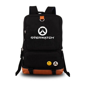 Harga Overwatch Noctilucent Laptop Backpack Canvas Bag Hiking DaypacksShoulder Bags(Black)