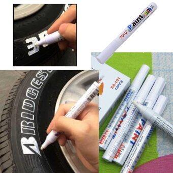 ซื้อ ปากกาเขียนยาง PAINT MARKER ปากกาไว้สำหรับเขียนยาง รถยนต์รถมอเตอร์ไซค์ รถจักรยานยนต์ รถจักรยาน หรือเหล็ก ผ้า พลาสติก ฯลฯเขียนแล้วติดทนนาน(สีขาว) เซต 2 แท่ง