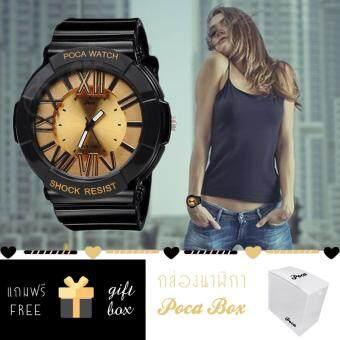 Poca Watch S SPORT นาฬิกาข้อมือ ดิจิตอล สายยาง ผู้หญิง สวยๆ ราคาถูก กันน้ำได้ Po BabyLadySw-GP92GB(Gold/Black) แถม กล่อง PocaBox