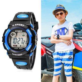 เด็กหนุ่มเด็กสาวหลายฟังก์ชันที่กันน้ำนาฬิกาข้อมืออิเล็กทรอนิกส์กีฬาสีน้ำเงิน (image 0)