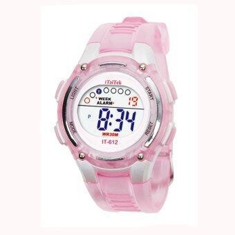 เด็กสาวว่ายน้ำกีฬาชายดิจิตอลนาฬิกาข้อมือกันน้ำสีชมพู
