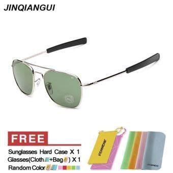 แว่นกันแดดผู้ชายแว่นตากันแดดสี่เหลี่ยมสีเขียวเงินยี่ห้อการออกแบบ