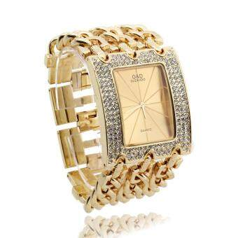 สายโซ่ผู้หญิงผสมระบบควอตซ์นาฬิกาข้อมือ (ทอง)