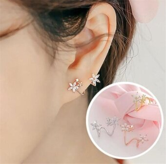 Pure silver sweet flower curved earrings Simple earrings Prevent allergy - intl