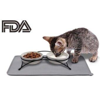 Q-shop FDA Grade Silicone Pet Food MatNon-slip Silicone Pet Food Tray for SmallMedium Dogs and Cats(Grey) - intl