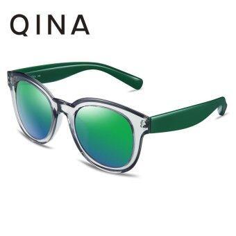 QINA แว่นกันแดดโพลาไรซ์สำหรับผู้หญิง กรอบสีใสขาแว่นสีเขียวเลนส์ป้องกันรังสี UV400 สีเขียว QN3500