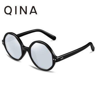 QINA แว่นกันแดดโพลาไรซ์สำหรับผู้หญิง กรอบทรงกลมสีดำเลนส์ป้องกันรังสี UV400 สีเงิน QN3507