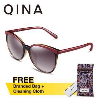 QINA แว่นกันแดดโพลาไรซ์สำหรับผู้หญิง กรอบทรงตาแมวลายกระ เลนส์ป้องกันรังสี UV400 สีเทา QN3515
