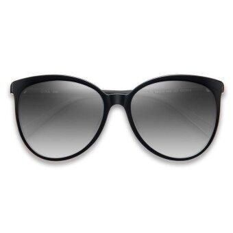 QINA แว่นกันแดดโพลาไรซ์สำหรับผู้หญิง กรอบทรงตาแมวสีดำ เลนส์ป้องกันรังสี UV400 สีเทา QN3515