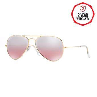 Ray-Ban แว่นกันแดด รุ่น Aviator Large Metal RB3025 - Gold (001/3E) Size 62 Crys.Brown-Pink Silver Mirror