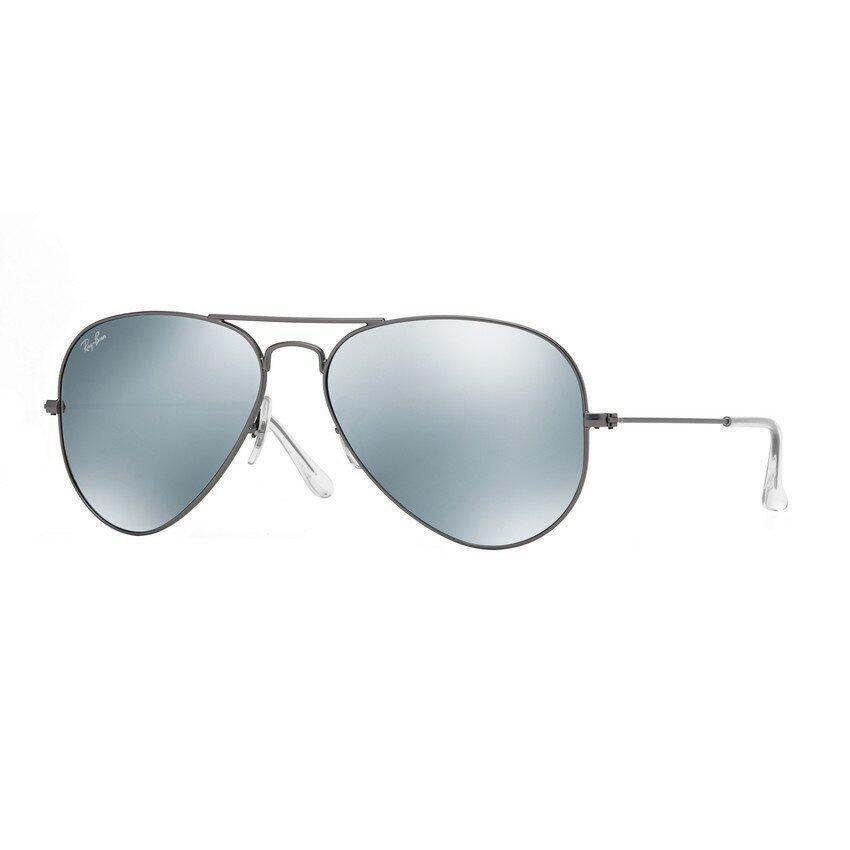 Ray-Ban แว่นกันแดด รุ่น Aviator Large Metal RB3025 - Matte Gunmetal (029/30) Size 55 Green Mirror Silver