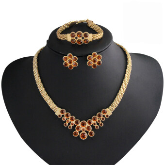 Rich Long Gold Plated Gemstone & Crystal Rhinestone Necklace& Earrings & Bracelet & Ring Jewelry Sets
