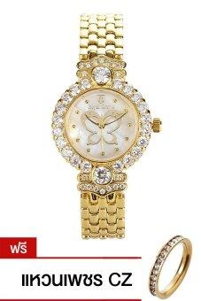 Royal Crown นาฬิกาข้อมือผู้หญิง สายสแตนเลส รุ่น 3844-SSL - Gold (แถมแหวนเพชร CZ)