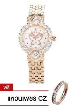 Royal Crown นาฬิกาประดับเพชรสุภาพสตรี สายสแตนเลส รุ่น 3844-SSL-Pink Gold (แถมแหวนเพชร CZ)