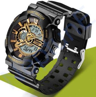 Sanda Sport นาฬิกาข้อมือ แฟชั่น ดิจิตอล กันน้ำ สีดำ ทอง ผู้ชาย Fashion Analog Digital LED Waterproof Multifunction Men Watch - Black Gold