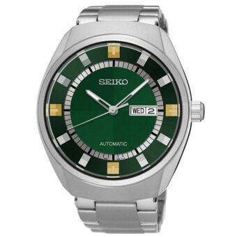 SEIKO Automatic Retro นาฬิกาข้อมือผู้ชาย สีเงิน/สีเขียว สายสแตนเลส รุ่น SNKN81K1
