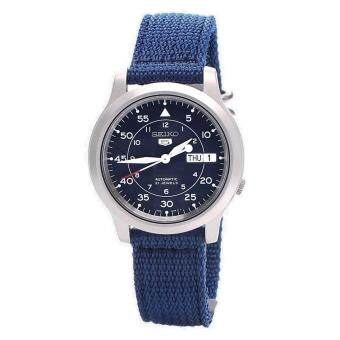 Seiko Watch 5 Automatic Blue Stainless-Steel Case Nylon Strap Mens NWT + Warranty SNK807K2