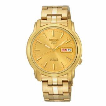 ประเทศไทย SEIKO5 Automatic 21 Jewels Gold dial Stainless Steel Bracelet Men s Watch รุ่น SNKK76 (7S26-03S0G)