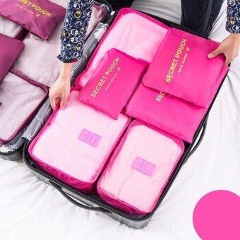 รายละเอียดของสินค้า กระเป๋าจัดระเบียบเสื้อผ้าสำหรับการเดินทาง Set 6ใบ สีชมพูอ่อน pink