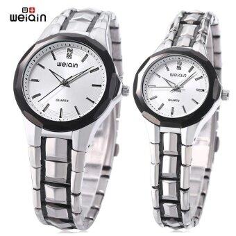 SH WeiQin W0099 Couple Quartz Watch 3ATM Artificial DiamondDialHardlex Mirror Luminous Wristwatch White - intl