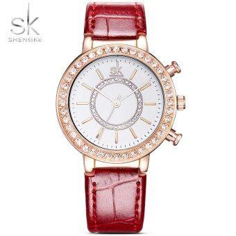 Shengke Luxury Women Watches Diamond Famous Brand Elegant Dress Quartz Watches Ladies Rhinestone Wristwatch Relogios Femininos - intl