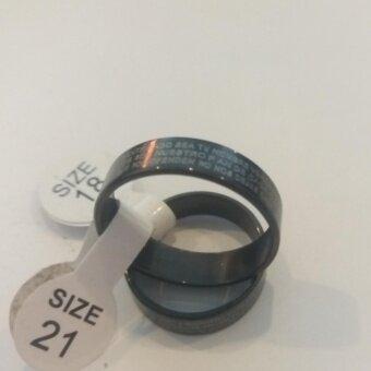 Shop2you แหวนสแตนเลสเนื้อแท้ลมควันดำ ลายตัวหนังสือ รุ่น CCB