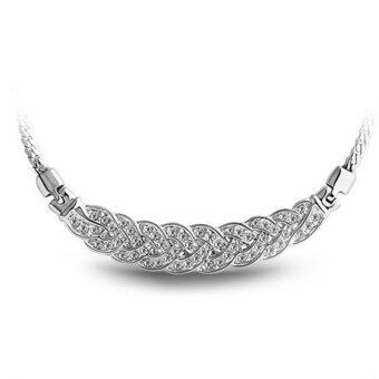 Silver Fashion Crystal Chunky Statement Elegant Pendant Women Choker Chain Necklace