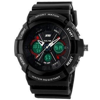 SKMEI นาฬิกาแฟชั่น กันน้ำ ดิจิตอล รุ่น 0966 สีดำ Dual Time Sport Fashion Waterproof LED Digital Men Watch - Black