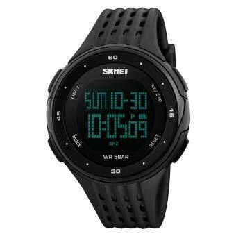SKMEI 1219 PC + PU Band Digital Men Watch for Outdoor Sport - Black- intl