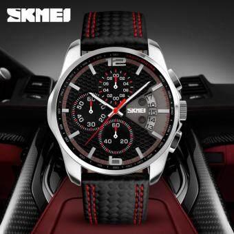 ของผู้ชายยี่ห้อ SKMEI กันน้ำหนังแฟชั่นธุรกิจโครโนกราฟเคลื่อนไหวนาฬิกา