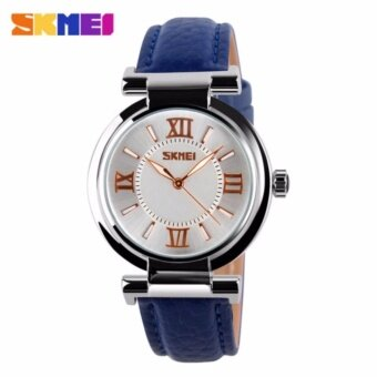 SKMEI 9075 Fahsion Women's Leather Watch Quartz Watch Waterproof Digital Wristwatch - Blue - intl