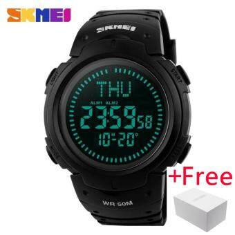 SKMEI Compass Sports Watch นาฬิกาข้อมือ es Men Countdown World Time WristWatch นาฬิกาข้อมือ es Digital Watch นาฬิกาข้อมือ 1231