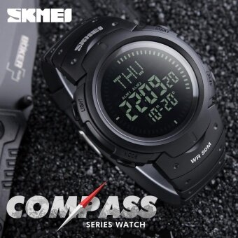 SKMEI Men Sports Watches Countdown Double Time Watch Alarm Chrono Digital Wristwatches 50M Waterproof Men's Watches 1231 - Black - intl